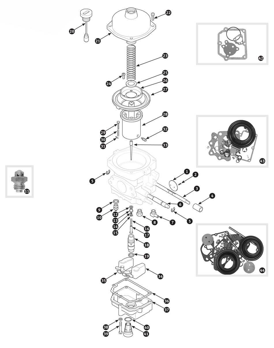 carburetor internal parts  from ct 21471e - tr4