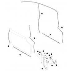 Door hinge and door seals