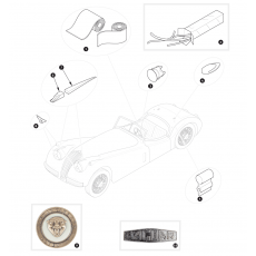 Mouldings, wing beadings and badges - XK120
