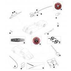 Mouldings, wing beadings and badges - XK150