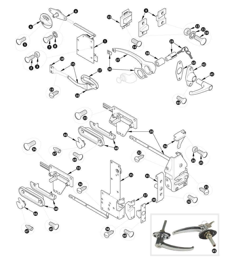 door locks and handles xk140 sc parts group ltd 1952 Jaguar XK door locks and handles xk140