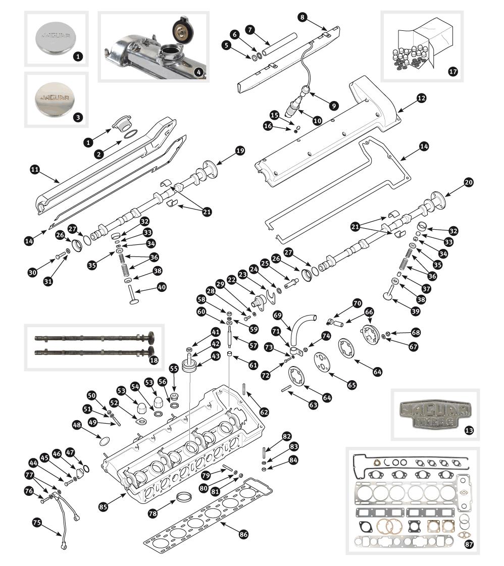 Parts For Jaguar Xk120 Xk140 And Xk150 Cylinder Head Sc Wiring Harness Group Ltd