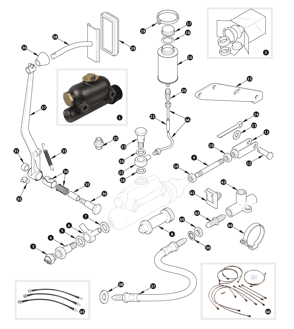 Brake Hydraulics Xk120 And Xk140 With Single Line System Sc Jaguar Wiring Diagram Parts Group Ltd