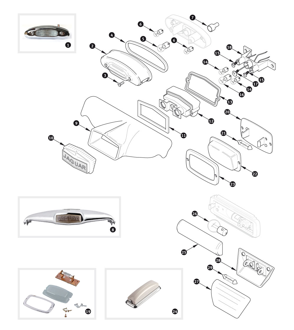 number plate lamps and interior lamps