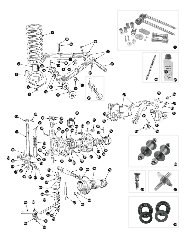 parts for austin healey bn1 - bj8  u2022 front suspension