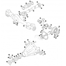 Axle casing, differential and propshaft