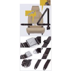 vertically mounted retractor, no pillar loop - chrome buckle with Jaguar logo