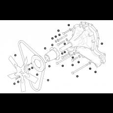 Water pump, fan belt and fan blade - 3.5 litre engine without viscous fan
