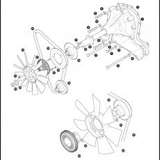 Water pump, fan belt and fan blade - 3.5 litre engine with viscous fan