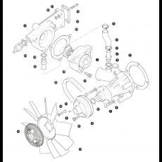 Water pump, fan belt and fan blade - 2.4 Liter Turbo Diesel