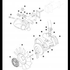 Water pump, fan belt and fan blade - 2.5 Liter Turbo Diesel