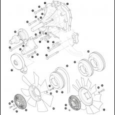 Water pump, fan belt and fan blade - 3.5 litre carbutettor models