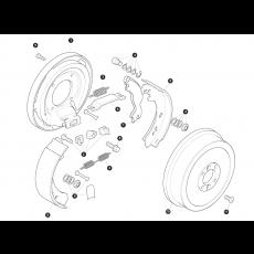 Hand brake - brake drum and brake shoes