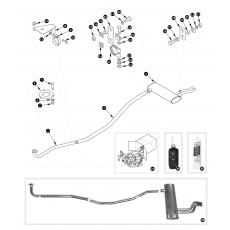 Exhaust system - TR250, TR6 carburettor to August 1971