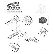 Swivel pin and wheel hub - 1500, 1600 and 1622