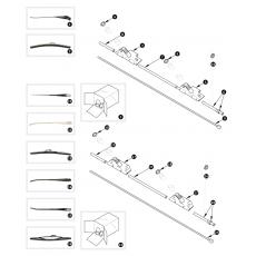Windscreen wiper, rack and wheel box