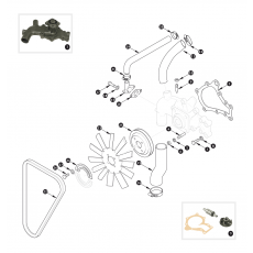 Water pump, fan belt and fan blade - XK150