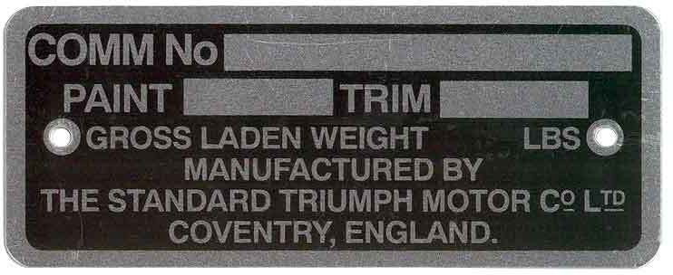 Triumph Chassis plate
