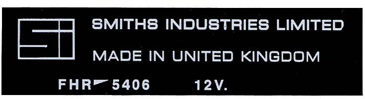 Sticker for heater, Smiths Industries